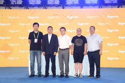 Mr. Wang Yanfeng, General Manager of Sogou's Voice Interaction Technology Center, and representatives of Xinhua News Agency, Migu and Zhangyue at the signing ceremony during COL+ 2019