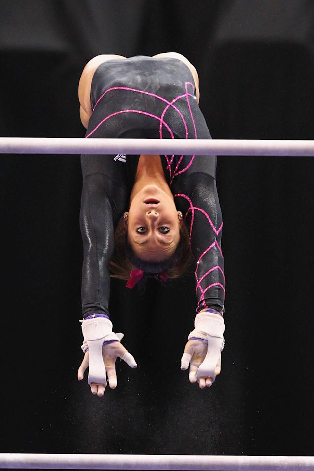 ST. LOUIS, MO - JUNE 8: Jordyn Wieber competes on the uneven bars during the Senior Women's competition on day two of the Visa Championships at Chaifetz Arena on June 8, 2012 in St. Louis, Missouri. (Photo by Dilip Vishwanat/Getty Images)