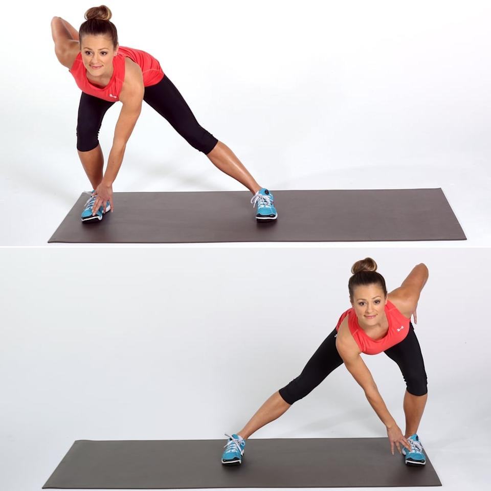 """<ul> <li>Start with feet slightly wider than hip distance apart. With feet parallel to each other, slowly start to sink into your heels, like you're going to sit in an imaginary chair. </li> <li>Hover at the bottom of the <a href=""""https://www.popsugar.com/fitness/How-Do-Squats-8876316"""" class=""""ga-track"""" data-ga-category=""""Related"""" data-ga-label=""""http://www.popsugar.com/fitness/How-Do-Squats-8876316"""" data-ga-action=""""In-Line Links"""">squat</a> for a few seconds before pressing evenly into both heels and slowly standing back up. </li> <li>When you come to the top of the squat, keep your left leg straight and transfer all your weight into your right glute. Slowly lower into a <a href=""""http://www.popsugar.com/fitness/photo-gallery/36123288/image/36123668/Alternating-Side-Lunge"""" class=""""ga-track"""" data-ga-category=""""Related"""" data-ga-label=""""http://www.popsugar.com/fitness/photo-gallery/36123288/image/36123668/Alternating-Side-Lunge"""" data-ga-action=""""In-Line Links"""">side lunge</a> on your right leg. Your left leg should stay straight with pointed toes, with minimal weight on it. </li> <li>Add a couple of pulses at the bottom of the lunge before your slowly stand back up. </li> <li>Perform another <a href=""""https://www.popsugar.com/fitness/How-Do-Squats-8876316"""" class=""""ga-track"""" data-ga-category=""""Related"""" data-ga-label=""""http://www.popsugar.com/fitness/How-Do-Squats-8876316"""" data-ga-action=""""In-Line Links"""">squat</a> and then go into a <a href=""""http://www.popsugar.com/fitness/photo-gallery/36123288/image/36123668/Alternating-Side-Lunge"""" class=""""ga-track"""" data-ga-category=""""Related"""" data-ga-label=""""http://www.popsugar.com/fitness/photo-gallery/36123288/image/36123668/Alternating-Side-Lunge"""" data-ga-action=""""In-Line Links"""">side lunge</a> for the left leg. </li> <li>Repeat on both legs 10 times each for one complete circuit. Perform the circuit twice.</li> </ul>"""