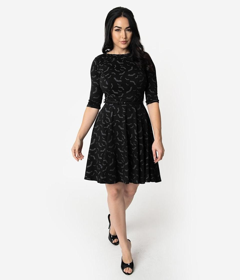 <p>How bat-tastic is this <span>Unique Vintage Black and Grey Bats Print Stephanie Fit and Flare Dress</span> ($88)?</p>