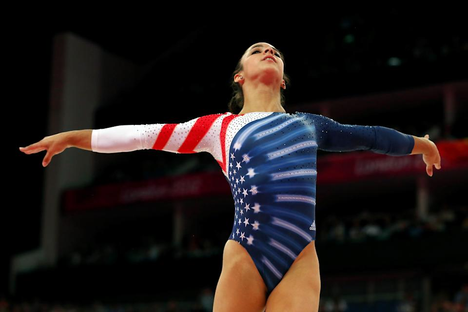 Alexandra Raisman of the United States competes in the Artistic Gymnastics Women's Floor Exercise final on Day 11 of the London 2012 Olympic Games at North Greenwich Arena on August 7, 2012 in London, England. (Photo by Ronald Martinez/Getty Images)