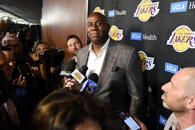 The Los Angeles Lakers will not hire a replacement for Magic Johnson, who abruptly stepped down from his role as president of basketball operations last month. (Getty Images)
