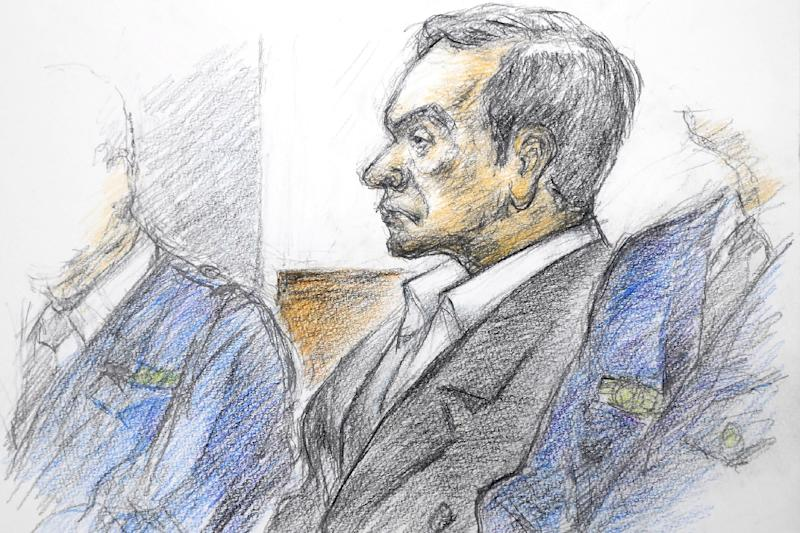 A courtroom sketch by Masato Yamashita shows former Nissan chairman Carlos Ghosn attending his hearing at the Tokyo district court in early January (AFP Photo/JIJI PRESS)