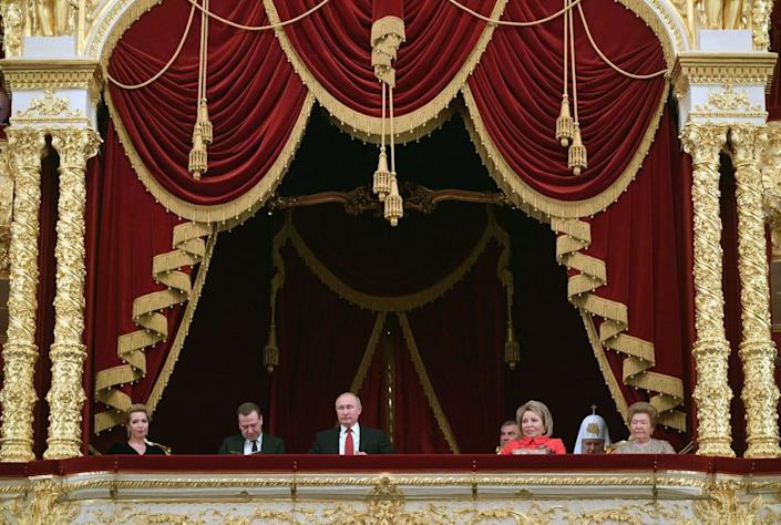 """<div class=""""inline-image__title""""> Vladimir Putin at the State Academic Bolshoi Theatre in Moscow.</div> <div class=""""inline-image__credit"""">ALEXEI DRUZHININ/AFP via Getty Images</div>"""