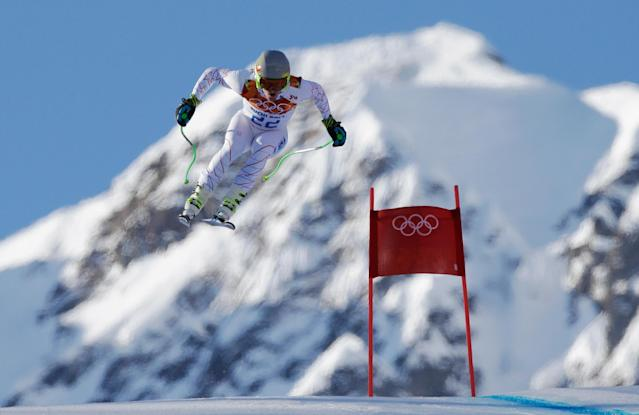 SOCHI, RUSSIA - FEBRUARY 14: Ted Ligety of the United States competes during the Alpine Skiing Men's Super Combined Downhill on day 7 of the Sochi 2014 Winter Olympics at Rosa Khutor Alpine Center on February 14, 2014 in Sochi, Russia. (Photo by Ezra Shaw/Getty Images)