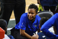 FILE - In this May 27, 2021, file photo, Dallas Wings coach Vickie Johnson talks to the team during a WNBA basketball game against the Atlanta Dream in College Park, Ga. Johnson played on the inaugural New York Liberty team. (AP Photo/Danny Karnik, File)