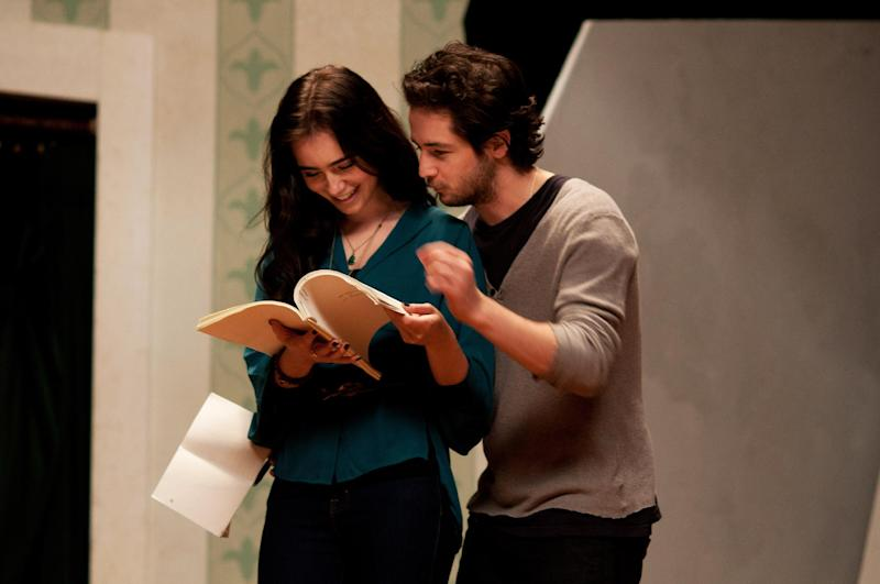 """This undated publicity photo released by courtesy of Cinedigm shows Lily Collins as Halle Anderson and Michael Angarano as Jason Sherwood in the film, """"The English Teacher,"""" directed by Craig Zisk. (AP Photo/Cinedigm, Nicole Rivelli)"""