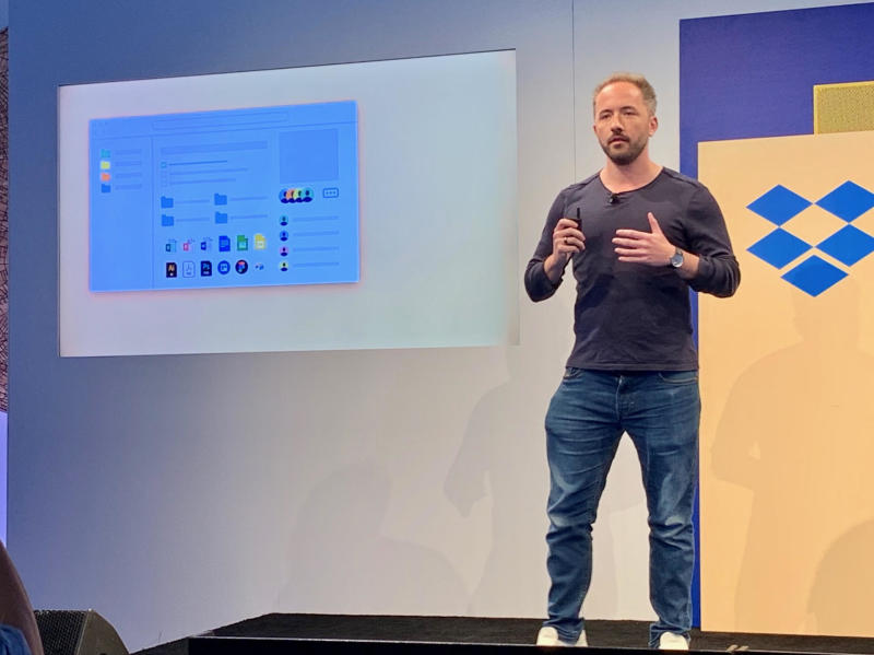 Dropbox CEO Drew Houston at a company event in San Francisco on Tuesday. Source: JP Mangalindan/Yahoo Finance