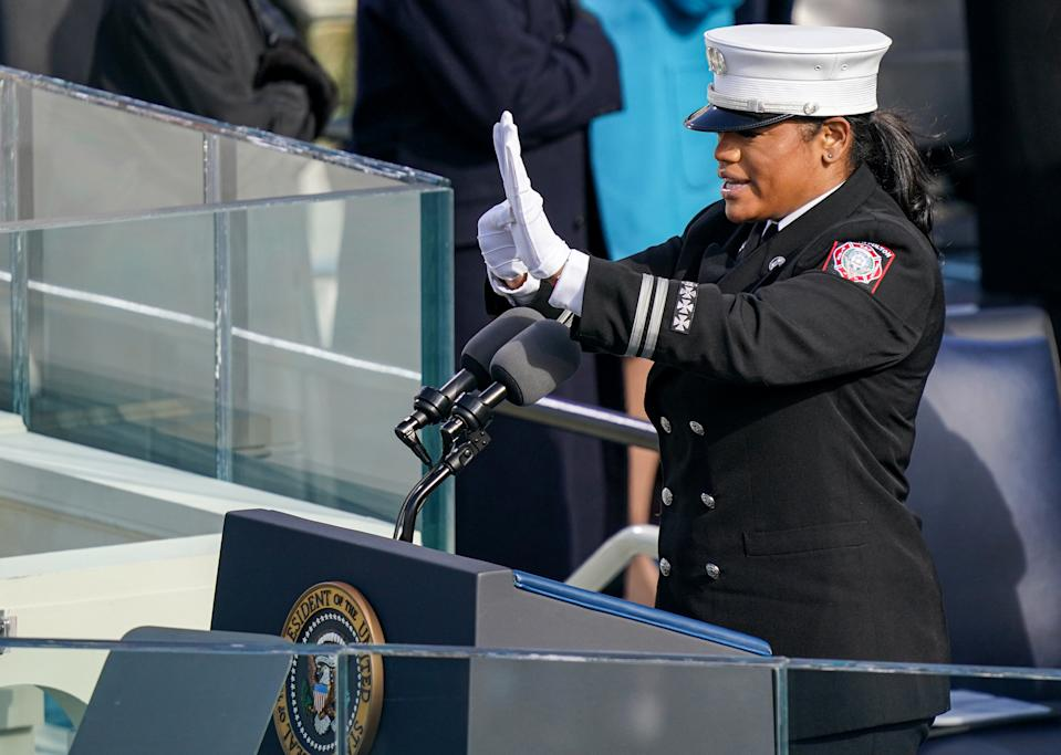 Captain Andrea Hall of the South Fulton, Georgia, Fire Department delivers the pledge of allegiance during the 2021 Presidential Inauguration. (Photo: Getty Images)