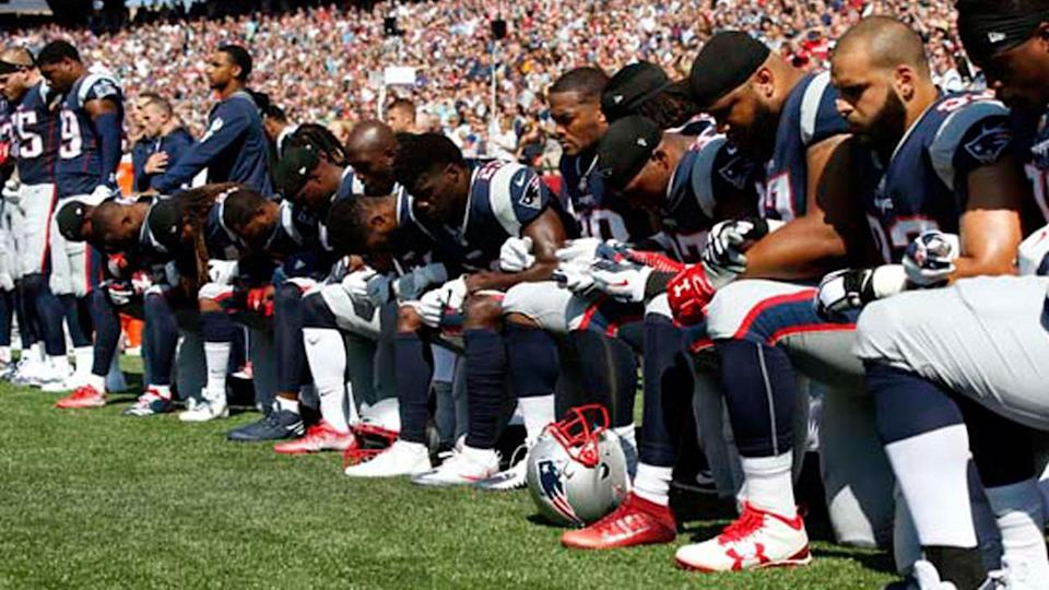 Members of the Patriots protested on Sunday. (AP)