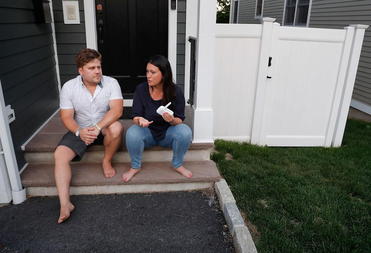 Barth and Rosa Bazyluk talk about their time living at the Austin Nichols house, a rent-stabilized apartment building in Brooklyn, while sitting outside their home July 5, 2018, in West Harrison, N.Y. (Photo: AP Photo/Julie Jacobson)