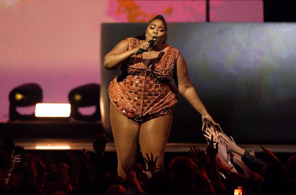 Lizzo performs on stage at the Brit Awards 2020 at the O2 Arena (Isabel Infantes/PA) (PA Archive)