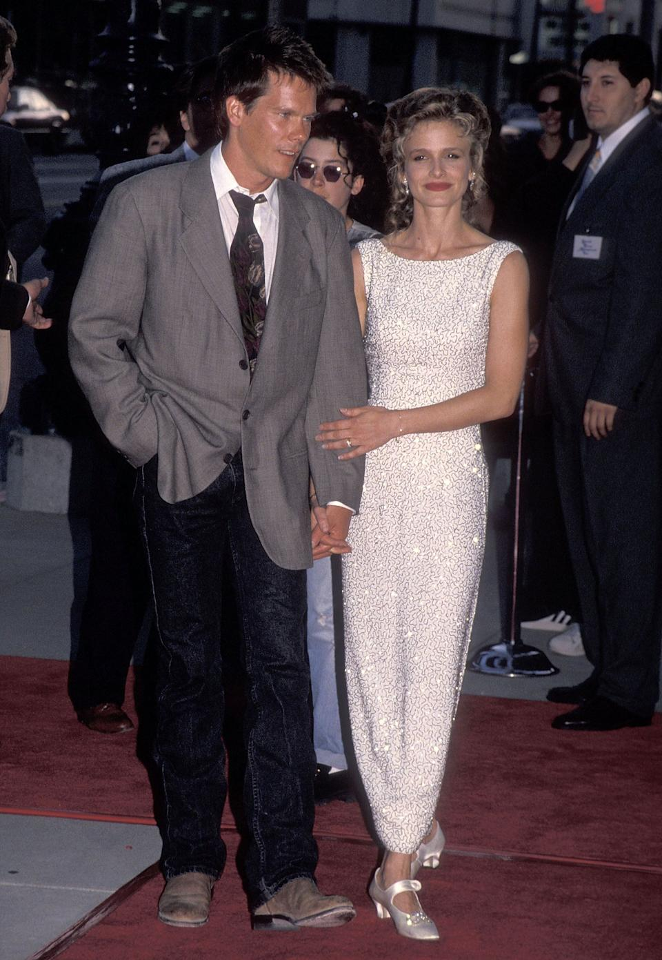 """Bacon and Sedgwick attend the """"Heart and Souls"""" premiere at the Academy Theatre in Beverly Hills, California."""