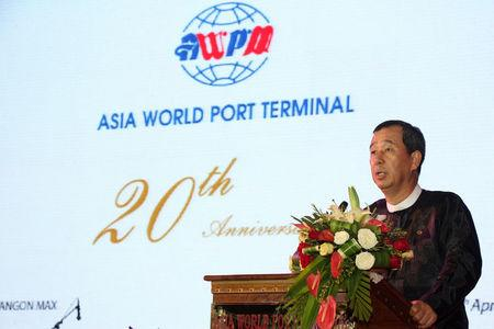 Myanmar businessman and owner of Asia World port terminal Steven Law speaks during terminal anniversary in Yangon, Myanmar, April 25, 2016.    Asia World Company/Handout via REUTERS