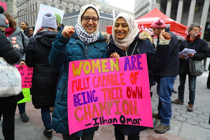 Maha Akhtar and Omera Begum attend the Women's Unity Rally hosted by a chapter of Women's March Inc. on Jan. 19, 2019 at Foley Square, New York City. (Photo: Gordon Donovan/Yahoo News)