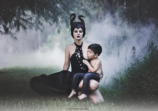 "Yaky Di Roma, a Venezuelan photographer, dressed as ""Sleeping Beauty"" villain Maleficent for a breastfeeding photo with her son, Hans."