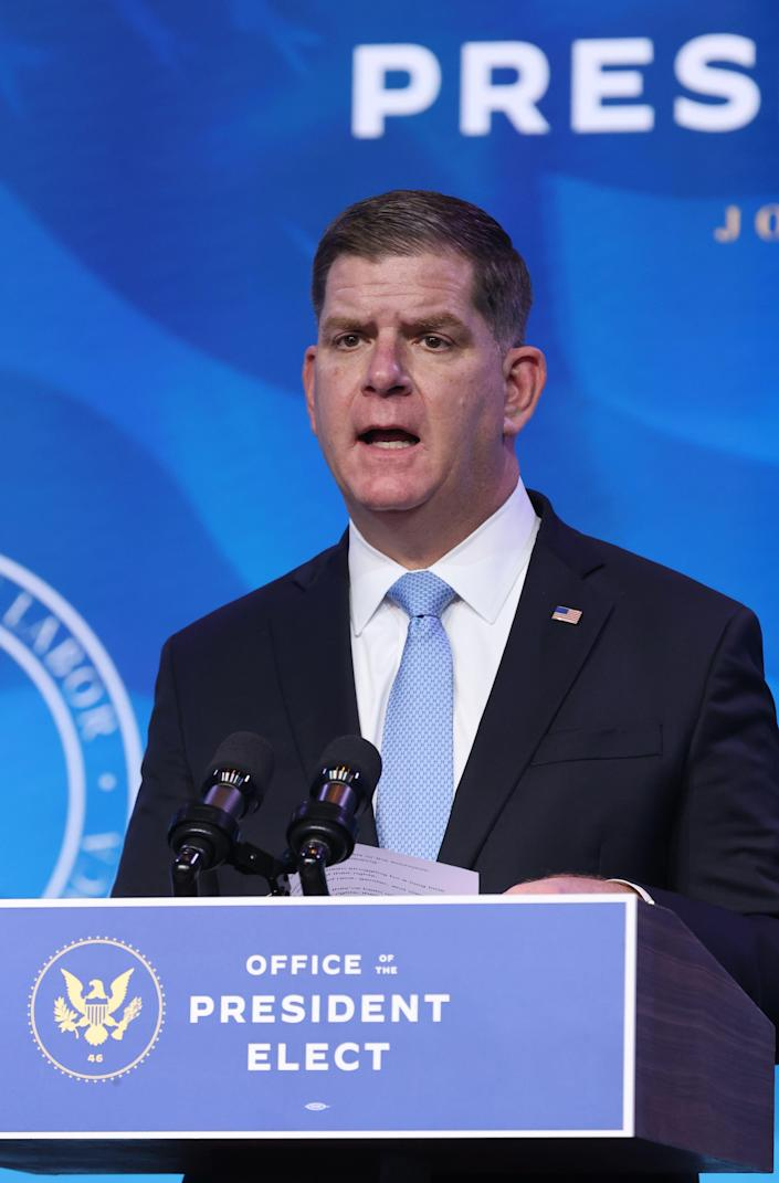 Boston Mayor Marty Walsh delivers remarks after U.S. President-elect Joe Biden announced him as his Labor Secretary nominee at The Queen theater on Jan. 8, 2021 in Wilmington, Delaware.