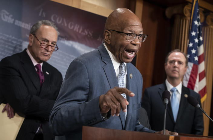 Rep. Elijah Cummings, ranking member of the Committee on Oversight and Government Reform — flanked by Senate Minority Leader Chuck Schumer, D-N.Y., left, and Rep. Adam Schiff of the House Intelligence Committee — responds to the Justice Department's internal review of the FBI's handling of the Hillary Clinton email investigation on Capitol Hill in Washington last June. (Photo: J. Scott Applewhite/AP)
