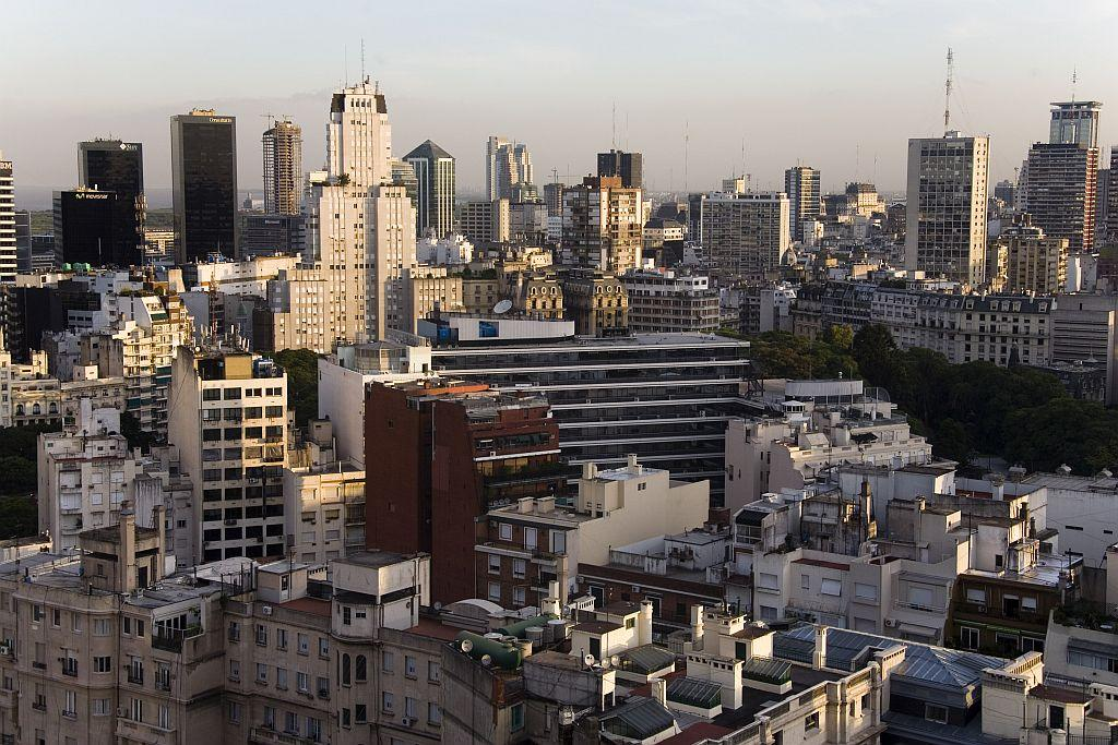 A view of the city from Hotel Sofitel in the Retiro area of Buenos Aires, the capital of Argentina,