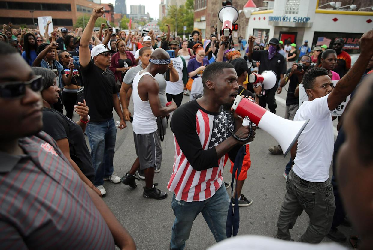 Missouri State Rep. Bruce Franks Jr. leads a protest in St. Louis last month. (Photo: St. Louis Post-Dispatch via Getty Images)