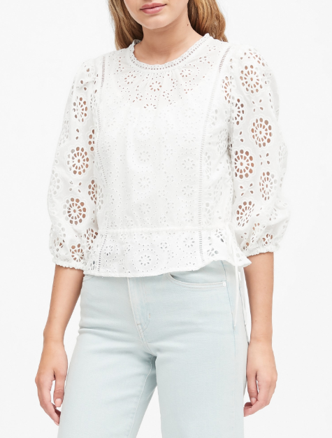 Banana Republic Unlined Eyelet Cropped Top in white