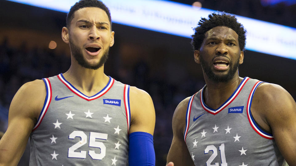 Ben Simmons' ongoing refusal to rejoin the Philadelphia 76ers has left teammate Joel Embiid 'disappointed', but hopeful the Aussie will change his mind. (Photo by Mitchell Leff/Getty Images)