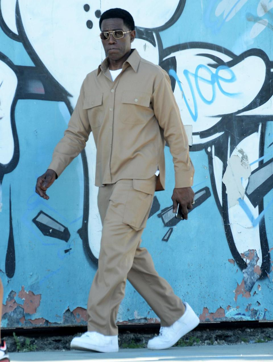 <p>Wesley Snipes is seen in character while filming on the set of a secret project with Kevin Hart on Monday in L.A.</p>