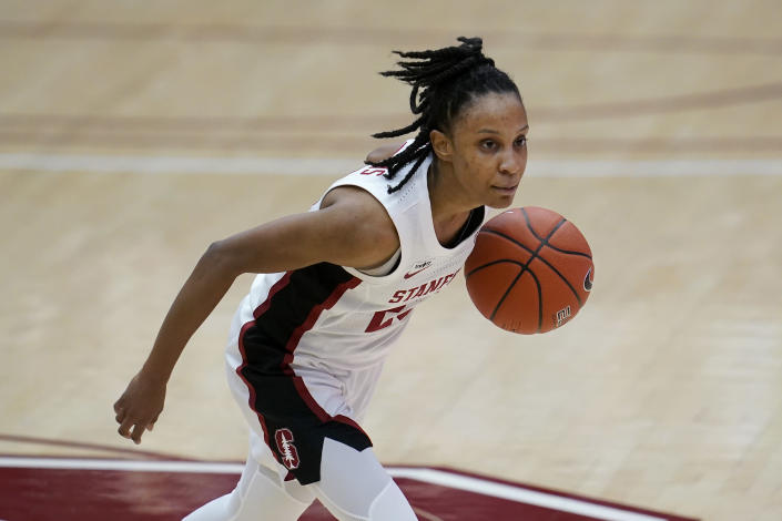 Stanford guard Kiana Williams dribbles against Arizona during the first half of an NCAA college basketball game in Stanford, Calif., Monday, Feb. 22, 2021. (AP Photo/Jeff Chiu)