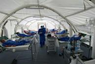 Patients being treated for COVID-19 at a field hospital in Guayaquil, Ecuador