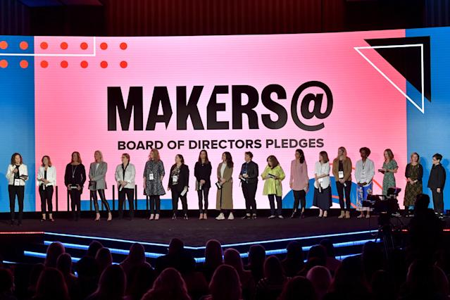MAKERS@ Board of Directors speak onstage during the 2020 MAKERS Conference at the InterContinental Los Angeles Downtown on February 12, 2020 in Los Angeles, California. (Photo by Emma McIntyre/Getty Images for MAKERS)