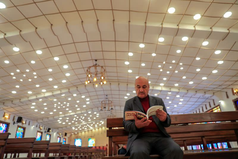 Thanoun Yahya, a 59 year-old an Iraqi Christian from the city of Mosul is seen at al-Bishara church in Mosul