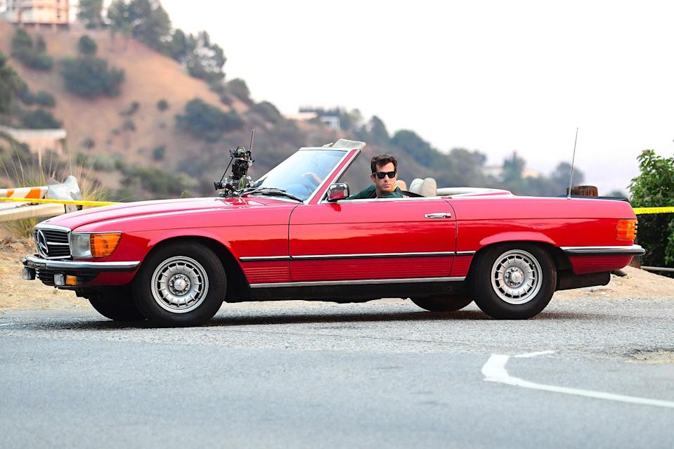 <p>Mark Ronson was spotted filming a music video in a vintage convertible near Studio City, California.</p>