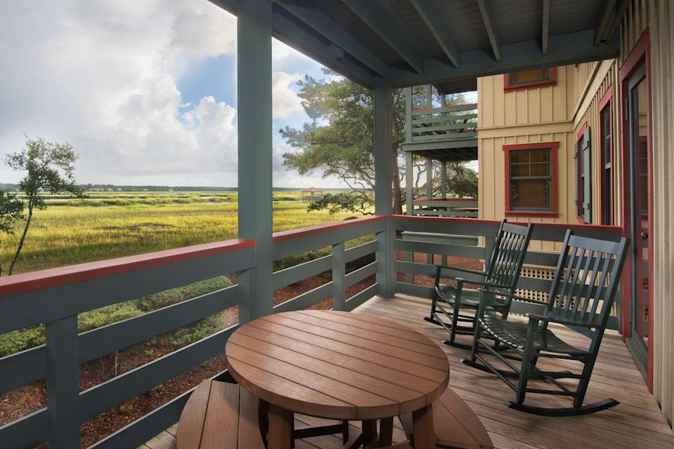 Outdoor porch with chairs at Disney's Hilton Head Island Resort