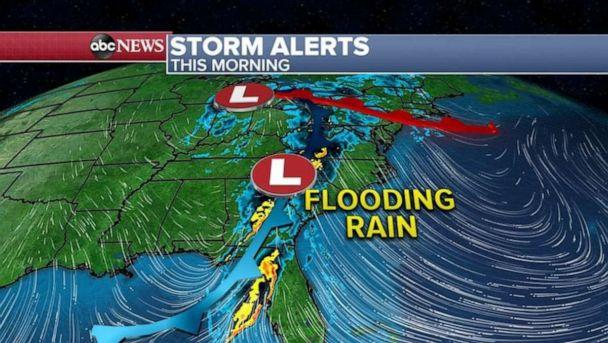 PHOTO: The storm system stretches from Florida all the way to the Great Lakes Thursday, with heavy rain moving east towards the I-95 corridor. (ABC News)