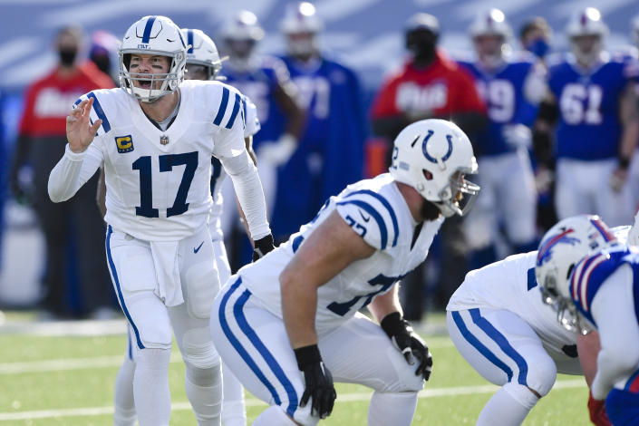 Indianapolis Colts quarterback Philip Rivers (17) threw incomplete on a key fourth down in Saturday's wild-card game. (AP Photo/Adrian Kraus)
