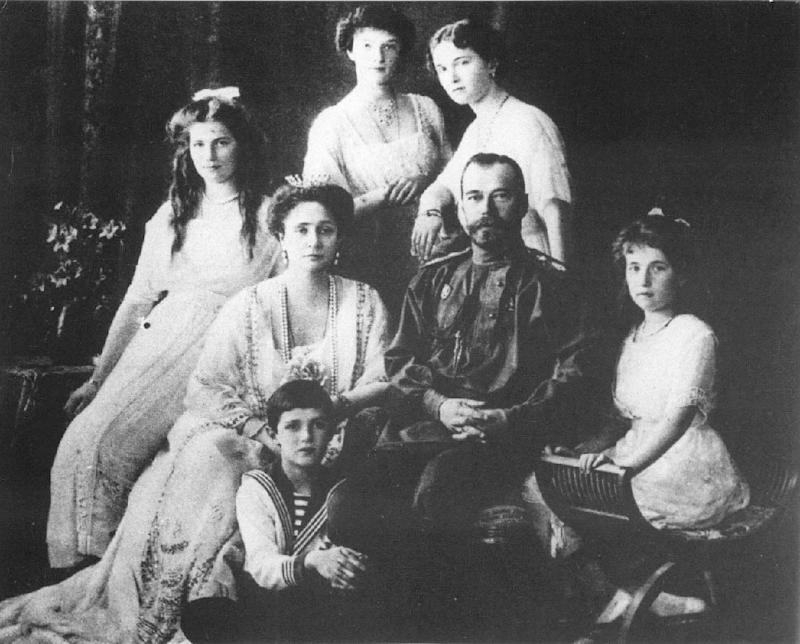 A 1909 picture of the Russian royal family showing Tsar Nicholas II (centre) with Prince Alexia (front) row and Princess Maria (back row, left)