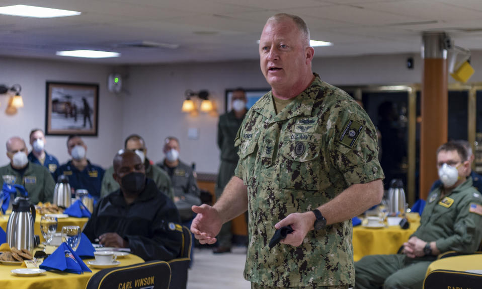 In this Feb. 8, 2021, photo, Fleet Master Chief Jim Honea, Fleet Master Chief of U.S. Pacific Fleet, addresses sailors assigned to Nimitz-class nuclear aircraft carrier USS Carl Vinson (CVN 70). Senior U.S. Navy commanders met with sailors on ships on the West Coast Monday and Tuesday, after two recent racist incidents triggered one of the first military stand-downs to address extremism in the ranks. (Mass Communication Specialist 3rd Class Erin C. Zorich/U.S. Navy via AP)