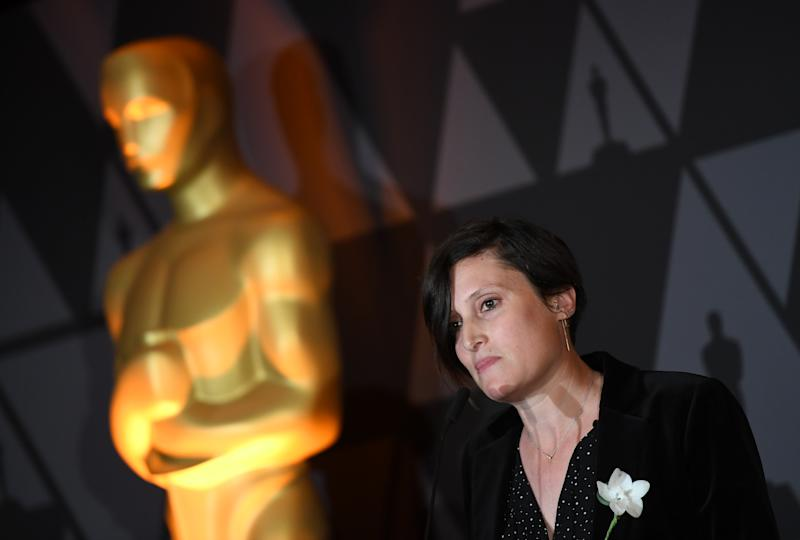 Rachel Morrison speaks during the Foreign Language Film Oscar nominees reception sponsored by the Academy of Motion Picture Arts and Sciences in Beverly Hills, California, on March 2, 2018. / AFP PHOTO / ANGELA WEISS (Photo credit should read ANGELA WEISS/AFP via Getty Images)