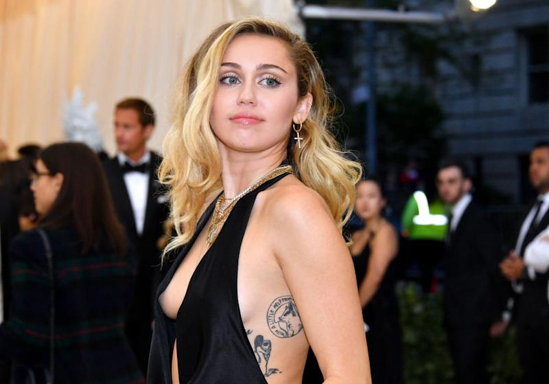 Myley Cyrus has revealed she identifies as a pansexual, pictured at the The Metropolitan Museum of Art, May 2018 (Getty Images)