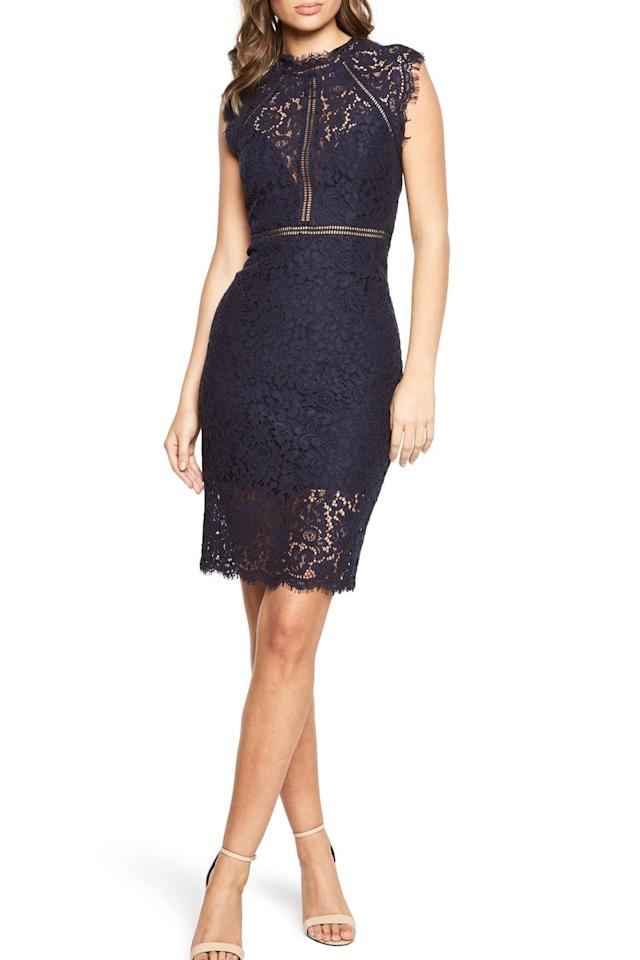 "<p><strong>BUY IT: $129;</strong> <a href=""https://click.linksynergy.com/deeplink?id=93xLBvPhAeE&mid=1237&murl=https%3A%2F%2Fshop.nordstrom.com%2Fs%2Fbardot-lace-sheath-dress%2F4682400%3Forigin%3Dcategory-personalizedsort%26breadcrumb%3DHome%252FWomen%252FClothing%252FDresses%26fashioncolor%3DBlue%26color%3Dnavy&u1=SL%2CRX_1910_NavyBlueHolidayDresses_LaceSheathDress%2Cjmcdonald0953%2C%2CIMA%2C648008%2C201910%2CI"" target=""_blank"">nordstrom.com</a></p>"
