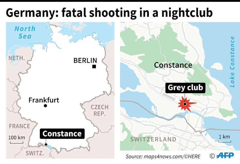 "Map locating the ""Grey club"", a nightclub in the city of Constance where two people died in a shooting early Sunday (AFP Photo/Sophie RAMIS)"