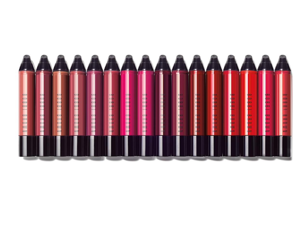 "<p>These cushiony art sticks pack a powerful punch of color that dry down to a nonsticky creamy finish that lasts for hours. They also add a swipe of moisture to your lips to keep them from getting chapped and rough. (<a rel=""nofollow"" href=""https://www.bobbibrowncosmetics.com/product/14460/47375/new/art-stick-liquid-lip/ss17"">$28</a>, bobbibrowncosmetics.com) (Photo: Bobbi Brown) </p>"