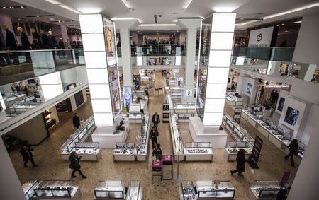 People shop inside at the Hudson's Bay Company (HBC) flagship department store in Toronto