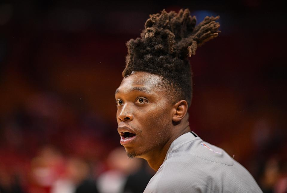 MIAMI, FLORIDA - OCTOBER 08: Lonnie Walker IV #1 of the San Antonio Spurs looks on before the preseason game against the Miami Heat at American Airlines Arena on October 08, 2019 in Miami, Florida. NOTE TO USER: User expressly acknowledges and agrees that, by downloading and or using this photograph, User is consenting to the terms and conditions of the Getty Images License Agreement. (Photo by Mark Brown/Getty Images)