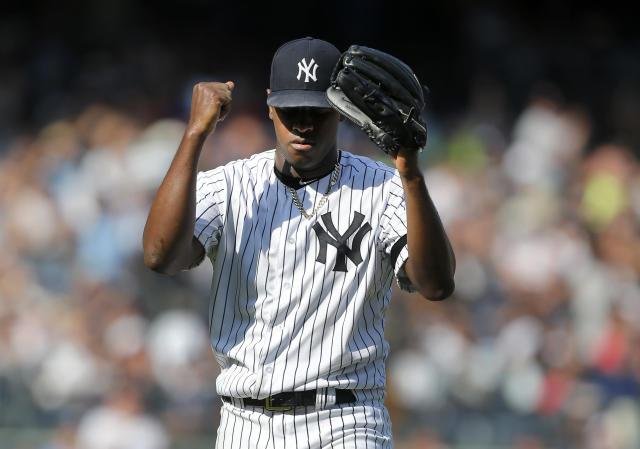 Luis Severino of the New York Yankees reacts after the final out of the fifth inning against the Toronto Blue Jays at Yankee Stadium on September 22, 2019 in New York City. (Getty Images)