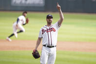 Atlanta Braves closer Will Smith (51) celebrates a pop up during the ninth inning of Game 3 of a baseball National League Division Series against the Milwaukee Brewers, Monday, Oct. 11, 2021, in Atlanta. The Atlanta Braves won 3-0. (AP Photo/Brynn Anderson)