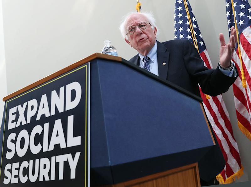 WASHINGTON, DC - FEBRUARY 13: Sen. Bernie Sanders (I-VT) speaks during a news conference to announce legislation to expand Social Security, on Capitol Hill February 13, 2019 in Washington, DC. Sen. Sanders proposal would contribute to Social Security with payroll taxes on income above $250,000. (Photo by Mark Wilson/Getty Images)