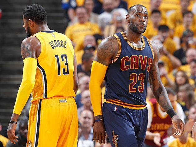 "LeBron James moves past <a class=""link rapid-noclick-resp"" href=""/nba/players/4725/"" data-ylk=""slk:Paul George"">Paul George</a>. (Getty Images)"