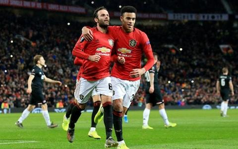 Soccer Football - Europa League - Group L - Manchester United v AZ Alkmaar - Old Trafford, Manchester, Britain - December 12, 2019 Manchester United's Juan Mata celebrates scoring their third goal from the penalty spot - Credit: REUTERS