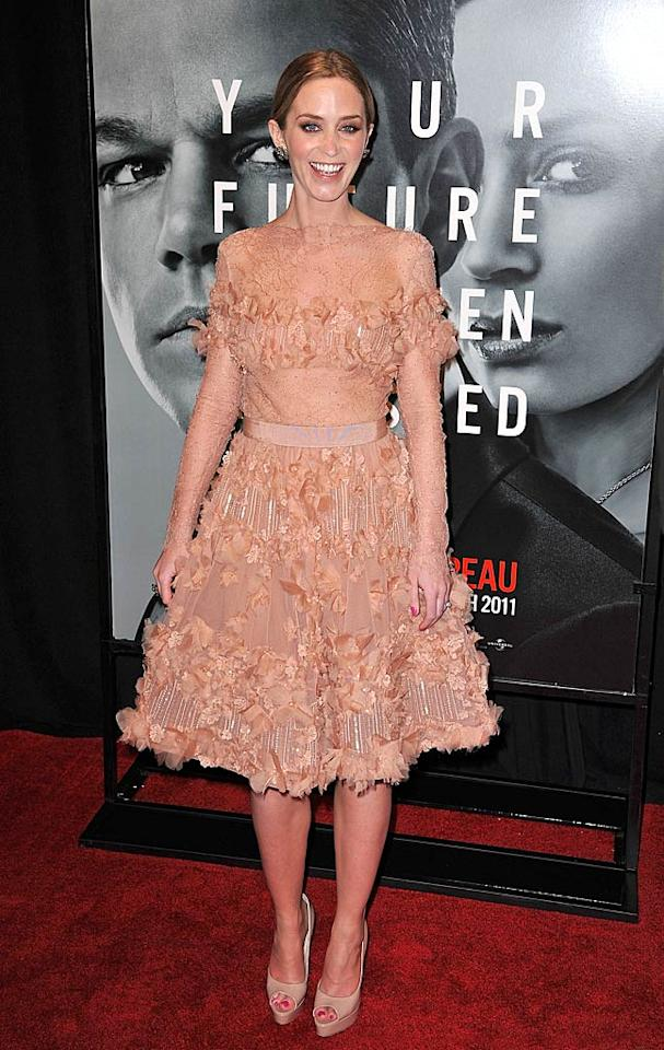"Meanwhile in the Big Apple, Emily Blunt hit the red carpet for the premiere of her new thriller, ""The Adjustment Bureau,"" in an interesting Elie Saab cocktail frock, Brian Atwood peep-toes, and Lorraine Schwartz jewelry. James Devaney/<a href=""http://www.wireimage.com"" target=""new"">WireImage.com</a> - February 14, 2011"